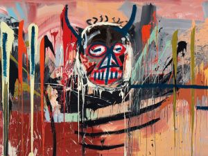 An untitled painting by Jean-Michel Basquiat broke the artist's world auction record, selling for $57.3 million at Christie's on May 10.