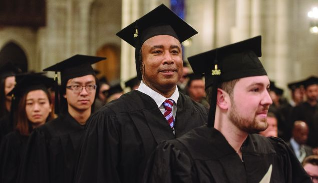 Former Yankee Bernie Williams graduates from Manhattan School of Music. Commencement exercises were held at The Riverside Church on May 13, 2016.