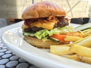 Cassia's lunch menu includes Bryant Ng's great burger.