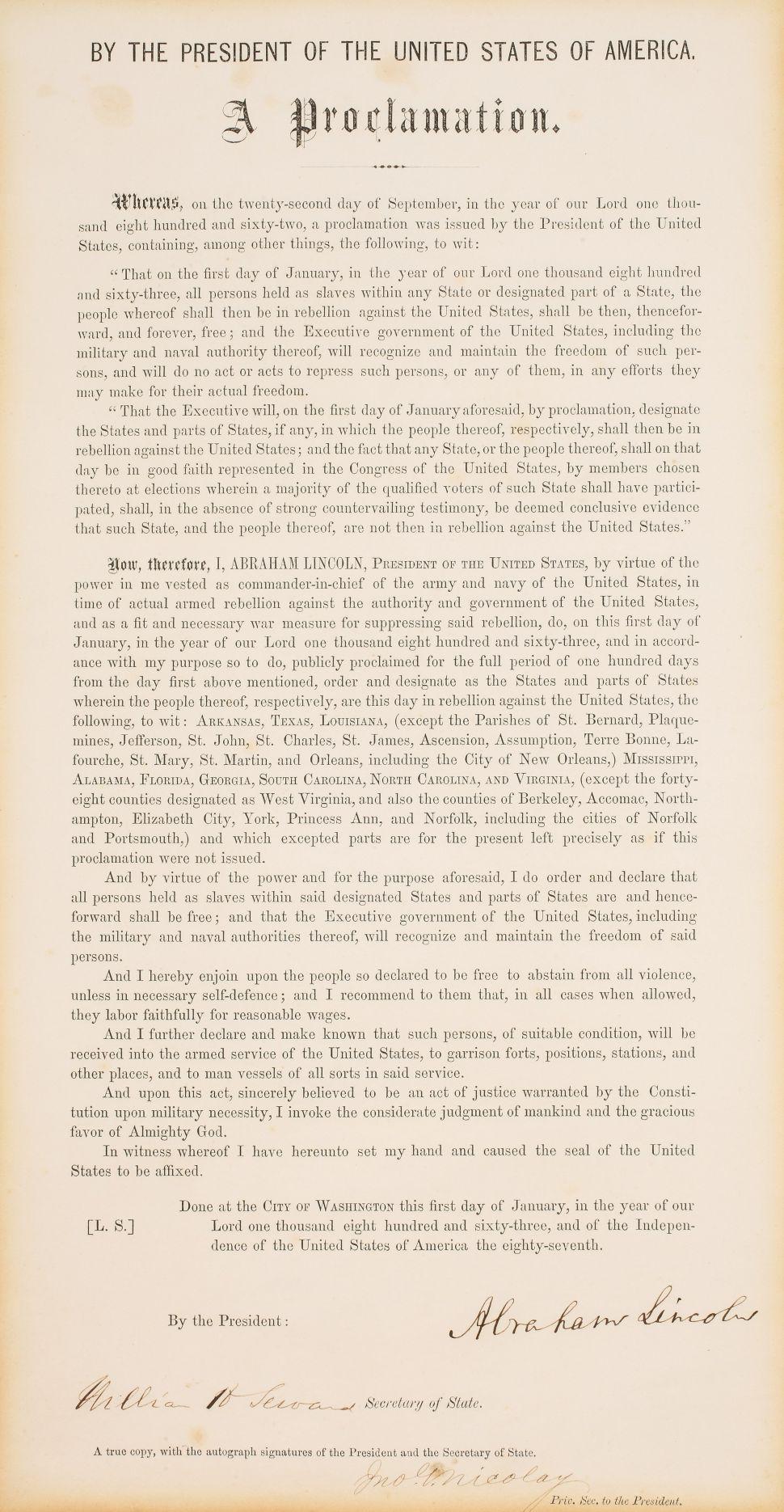 Emancipation Proclamation, 13th Amendment to Hit the Auction Block