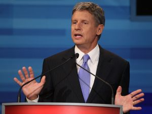 Former New Mexico Gov. Gary Johnson speaks in the Fox News/Google GOP Debate at the Orange County Convention Center on September 22, 2011 in Orlando, Florida. The debate featured the nine Republican candidates two days before the Florida straw poll.