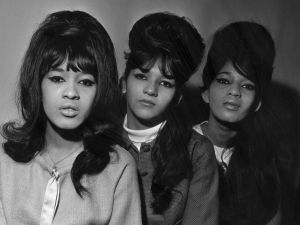 The Ronettes (left to right) singers Ronnie Spector, Nedra Talley and Estelle Bennett, an American pop trio produced by Phil Spector.