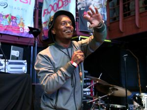 Rapper Fashawn performs onstage at the FLOODfest showcase in Austin, Texas.