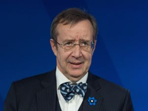 "Estonian President Toomas Ilves speaks at a talk entitled ""The Estonia Model: Why a Free and Secure Internet Matter ""at the Wilson Center in Washington, DC, on April 21, 2015. AFP PHOTO/NICHOLAS KAMM"