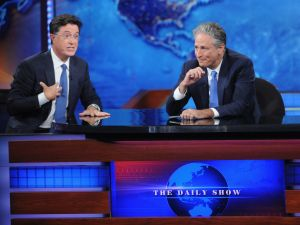 "Stephen Colbert and Jon Stewart appear on ""The Daily Show with Jon Stewart"" #JonVoyage on August 6, 2015 in New York City."