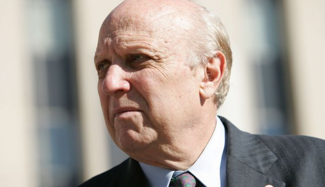 Floyd Abrams, a First Amendment expert, waits for his client New York Times reporter Judith Miller in front of the E. Barrett Prettyman U.S. District Court October 7, 2004 in Washington, DC. Miller was found to be in contempt of court for not disclosing a source during an federal investigation federal into the disclosure of the name CIA officer Valerie Plame to the press.