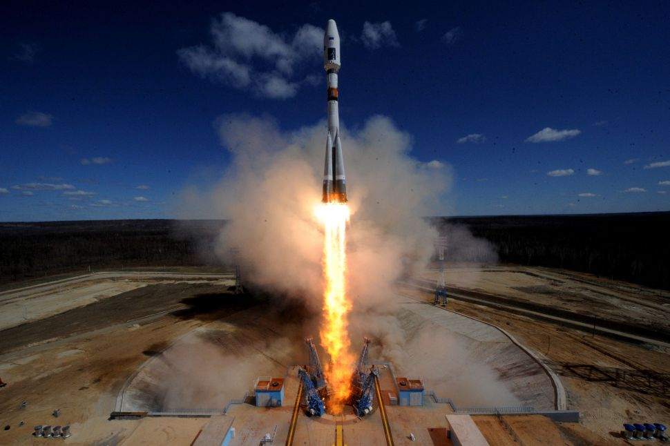 A Russian Soyuz 2.1a rocket carrying Lomonosov, Aist-2D and SamSat-218 satellites lifts off from the launch pad at the new Vostochny cosmodrome outside the city of Uglegorsk, about 200 kms from the city of Blagoveshchensk in the far eastern Amur region on April 28, 2016.