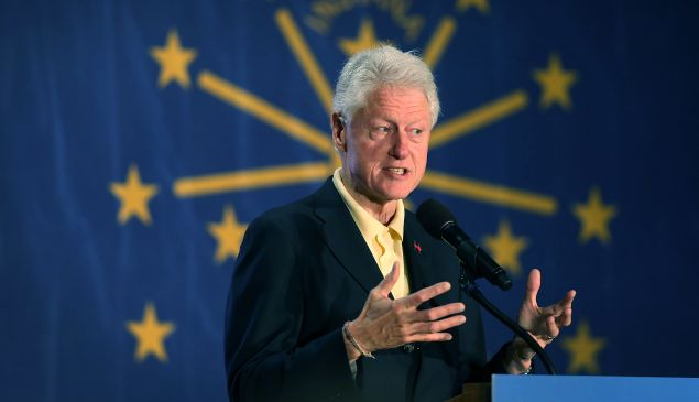 Former President Bill Clinton campaigns for his wife, Democratic presidential candidate Hillary Clinton, as he speaks during the Howard County Democratic party��s pre-primary pancake breakfast at the United Auto Workers Local 685 Hall on April 30, 2016 in Kokomo, Indiana. Presidential candidates continue to campaign across the state leading up to Indiana's primary day on Tuesday.