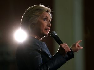 Democratic presidential candidate former Secretary of State Hillary Clinton speaks during a campaign rally on May 6, 2016 in Oakland, California. Hillary Clinton is campaigning in California ahead of the State's presidential primary on June 7th.