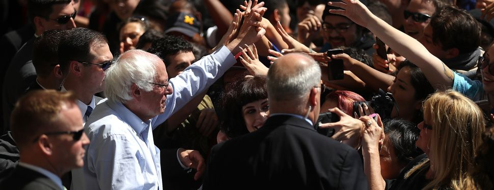 Democratic presidential candidate Sen.Bernie Sanders (D-VT) greets supporters at a campaign rally on May 10, 2016 in Stockton, California. Sanders is campaigning in California ahead of the state's June 7th presidential primary.