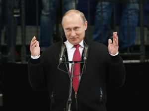 Russian President Vladimir Putin speaks during the award ceremony of the 2016 IIHF World Championship gold medal game at the Ice Palace on May 22, 2016 in Moscow, Russia. Canada defeated Finland 2-0.