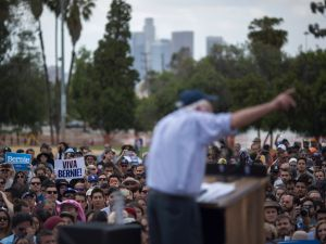 Democratic presidential candidate Sen. Bernie Sanders addresses a heavily-Latino crowd during a campaign rally at Lincoln Park on May 23, 2016 in East Los Angeles, California. Sanders is campaigning ahead of the June 7 California primary.