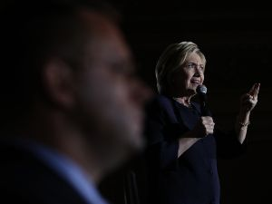 Democratic presidential candidate former Secretary of State Hillary Clinton speaks during a campaign event on May 26, 2016 in San Francisco, California. Hillary Clinton is campaigning in the San Francisco Bay Area ahead of California's presidential primary on June 7th.