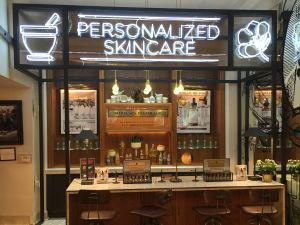 The skincare counter at the Kiehl's flagship