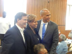 Camden Mayor Dana Redd with U.S. Representative Donald Norcross and Senator Cory Booker in 2016.
