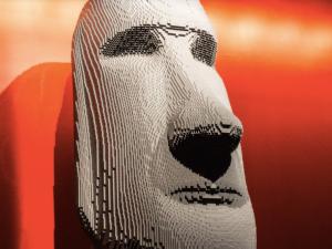 An Easter Island replica from artist Nathan Sawaya.