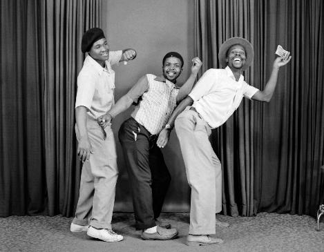 S.J. Moodley, [Three Men Dancing in a Line], 1975.