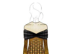A sketch of the Mary Katrantzou dress