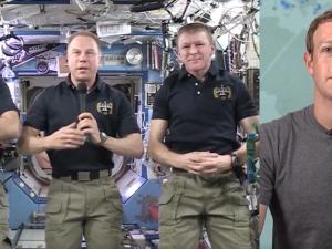 From left: NASA Astronauts Jeff Williams and Tim Kopra. ESA Astronaut Tim Peake. Facebook CEO Mark Zuckerberg