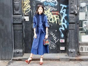 Man Repeller's Leandra Medine models her collection with Atea Oceanie.