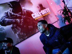 LOS ANGELES, CA - JUNE 15: Jordan Clarkson Stops By E3 To Check Out 'Call Of Duty: Infinite Warfare' at Los Angeles Convention Center on June 15, 2016 in Los Angeles, California.