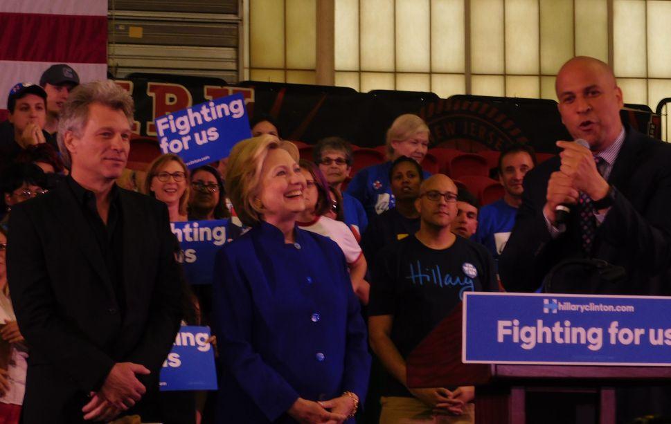 Joined by Booker and Bon Jovi, Clinton Slams Trump at Rutgers Newark Rally