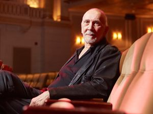 Actor Frank Langella sitting inside of the Friedman Theatre, 261 West 47th St., New York, New York, May 24, 2016.