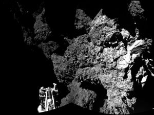 The surface of the 67P/Churyumov-Gerasimenko comet as seen from the Philae lander. November 12, 2014.