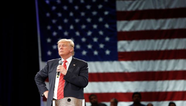 Republican presidential candidate Donald Trump speaks to supporters during a town hall meeting on March 14, 2016 at the Tampa Convention Center in Tampa , Florida.