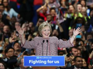 Hillary Clinton in an Armani jacket