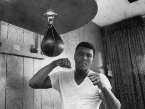 American Heavyweight boxer Cassius Clay (later Muhammad Ali), training in his gym, 21st May 1965.