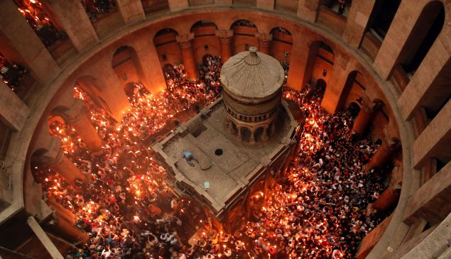 The Church of the Holy Sepulchre in Jerusalem's Old City during the Orthodox Easter ceremonies.