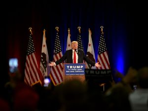 Republican presidential candidate Donald Trump speaks during a rally at the San Jose Convention Center in San Jose, California on June 2, 2016.