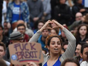 Protesters gather against the EU referendum result in Trafalgar Square on June 28, 2016 in London, England.