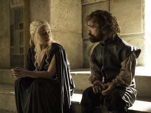Emilia Clark as Daenerys Targaryen and Peter Dinklage as Tyrion Lannister.