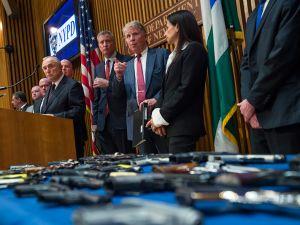 Mayor Bill de Blasio, center, flanked by NYPD Commissioner Bill Bratton and Manhattan District Attorney Cyrus Vance.