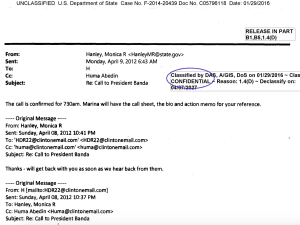 "This email, which was classified as ""Confidential,"" was sent to Hillary Clinton on her private server and then forwarded by her."