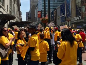 Macy's employees gathered at the Rally for a Fair Contract on June 2