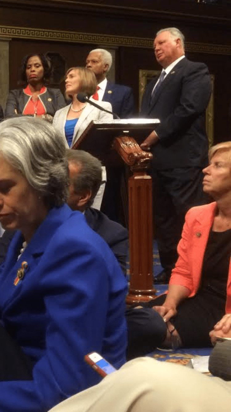 Sires Joins Lewis in Sit-in to Demand Gun Control Vote