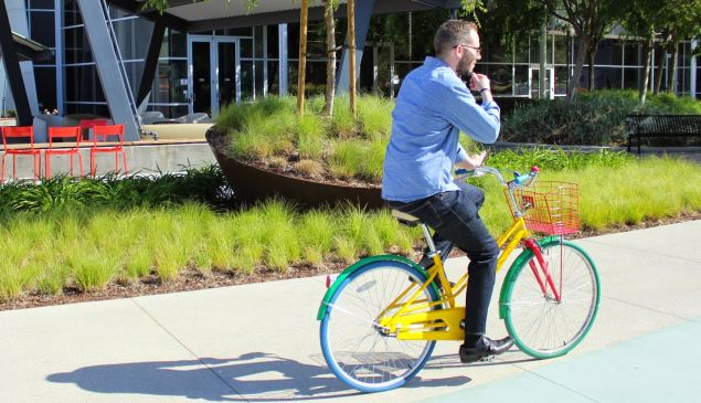 A googler on one of his employers bikes.