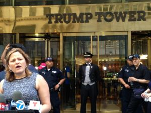 Council Speaker Melissa Mark-Viverito outside Trump Tower.