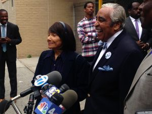 Congressman Charles Rangel with his wife Alma, left, and Assemblyman Keith Wright, right.
