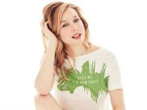 Tata Harper poses in the chic, organic t-shirt she collaborated on with fashion house Maiyet.