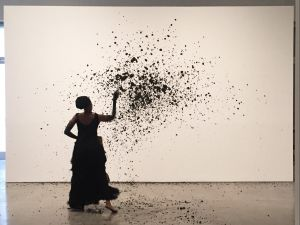 Wangetchi Mutu performing Throw at Pace Gallery.