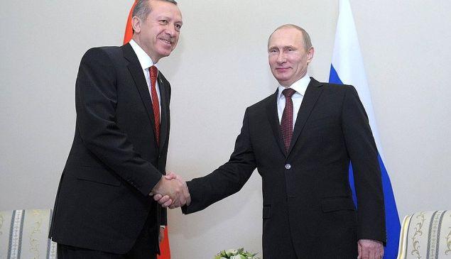 Turkish prime minister Recep Tayyip Erdoğan with his Russian counterpart, Vladimir Putin.