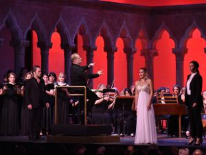 Andrew Owens, tenor, Georgia Jarman, soprano, and Tamara Mumford, mezzo-soprano, performing in Aureliano in Palmira by Gioachino Rossini, with Will Crutchfield, conductor, and the Orchestra of St. Luke's, in the Venetian Theater at Caramoor in Katonah.