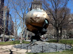 Fritz Koenig's Sphere, currently on view in Battery Park.