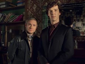 Benedict Cumberbatch (R) stars as Sherlock Holmes and Martin Freeman plays his sidekick Dr. John Watson.