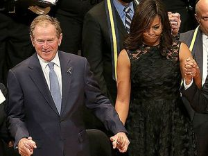George W. Bush and Michelle Obama.