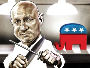 Chef Tom Colicchio is taking aim at congressmen who have voted against good food policy.